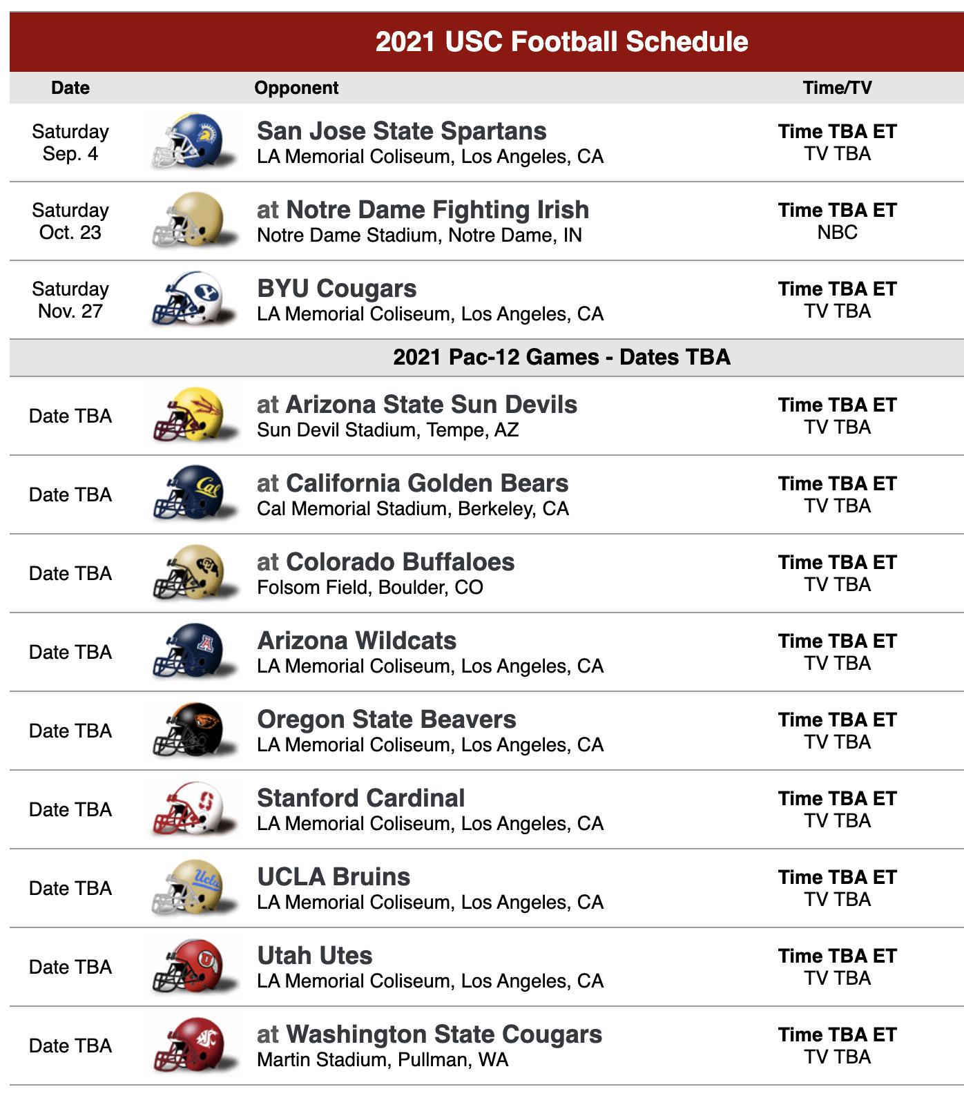 USC 2021 Football Schedule